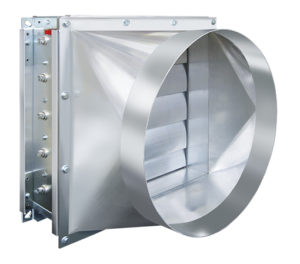 pressure-relief damper for round ducts with round transition